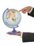 Les mains de l'homme d'affaires retenant le globe Photos libres de droits