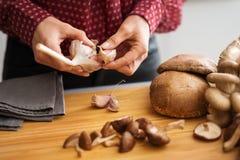 Les mains de la femme séparant des clous de girofle d'ail avec des champignons photo stock