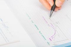 Les mains de la femme un stylo, comptabilité de relevé de compte financier  Image libre de droits