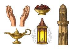 Les mains de prière, lampe arabe, dates portent des fruits, minaret et lampe d'Aladdin illustration libre de droits
