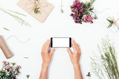 Les mains des femmes tenant le téléphone intelligent avec l'écran blanc vide Image stock