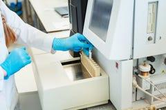 Les mains des tubes témoin de chargement d'assistant de laboratoire pour la coagulation examinent l'analyse Photographie stock libre de droits