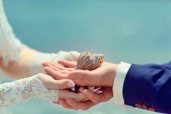 Les mains du couple Images stock
