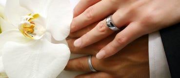 Les mains du couple nuptiale image stock