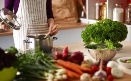 Les mains du cuisinier préparant la salade végétale - plan rapproché Images libres de droits