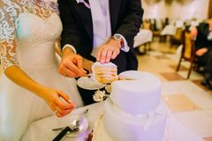 Les mains du marié mettent le premier morceau du gâteau de mariage sur le plat Images libres de droits