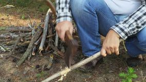 Les mains en gros plan avec la hache, prépare le bois de chauffage banque de vidéos