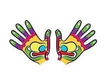 Les mains esquissent pour votre conception, réflexothérapie de massage Images libres de droits