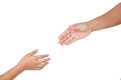 Les mains fait partie de la femme et de l'enfant de corps d'isolement pour l'aide Photographie stock