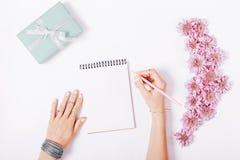 Les mains femelles écrivent dans un carnet Images libres de droits