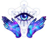 Les mains femelles avec l'intérieur de galaxie s'ouvrent autour du symbole maçonnique neuf illustration de vecteur