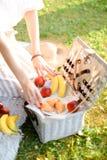 Les mains femelles ont mis des fruits dans la boîte pour le pique-nique, herbe à l'arrière-plan image libre de droits