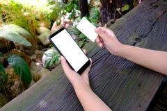 Les mains femelles se tiennent et à l'aide du téléphone portable de smartphone avec la carte d'écran vide et de crédit en blanc image libre de droits