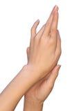 Les mains femelles se touchent Photographie stock libre de droits