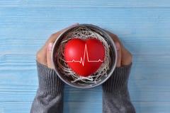 Les mains femelles tient un seau de zinc avec le coeur rouge Images stock