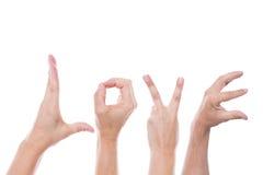 Les mains forment l'amour de mot Photographie stock libre de droits