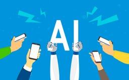 Les mains humaines plates tiennent le grand symbole d'AI Photographie stock libre de droits