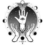 Les mains humaines soutiennent une paume divine avec un oeil tout-voyant Photos stock