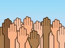 Les mains lèvent beaucoup Photos libres de droits