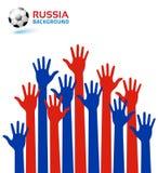 Les mains lèvent l'icône utilisant la Russie 2018 couleurs de drapeau Bille de football Illustration de vecteur illustration stock