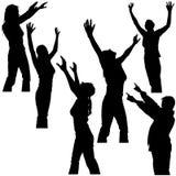 Les mains lèvent les silhouettes 2 Photo libre de droits