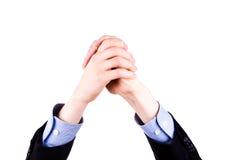Mains masculines remontées dans le signe d'accomplissement. Concept de succès. Photos stock