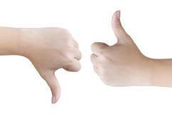 Les mains montre comme et aversion, sur le fond blanc Photos libres de droits