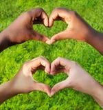 Les mains noires et blanches au coeur forment, concept interracial d'amitié Images libres de droits