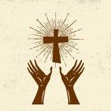 Les mains ont augmenté, culte de Lord Jesus Christ illustration de vecteur