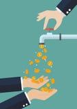 Les mains portent des pièces de monnaie tombant hors du robinet d'eau Photographie stock libre de droits