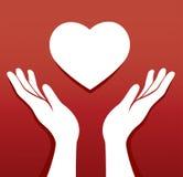 Les mains prient dans un vecteur de forme de coeur Images stock