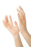 Les mains s'ouvrent dans la prière Photo stock