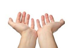 Les mains s'ouvrent. Plaidoirie Image stock