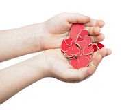 Les mains tiennent beaucoup de coeurs rouges Photos stock