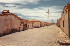 Les maisons abandonnées d'une rue ont abandonné dans le salpêtre Humbersto image libre de droits
