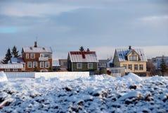 Les maisons de l'Islande image libre de droits