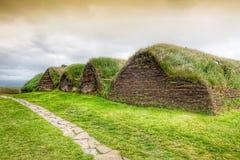 Les maisons islandaises traditionnelles avec l'herbe couvrent l'arrière, Islande Photographie stock
