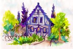 Les maisons mignonnes avec le rouge couvre l'illustration d'aquarelle Photographie stock libre de droits