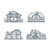 Les maisons résidentielles amincissent la ligne icônes Image libre de droits