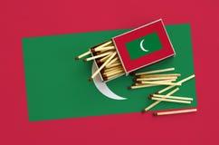 Les Maldives diminuent est montrées sur une boîte d'allumettes ouverte, de laquelle plusieurs matchs tombent et des mensonges sur photos stock