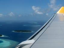 Les Maldives par avion Photo stock