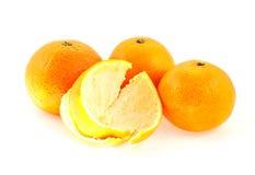 les mandarines pèlent trois Images stock