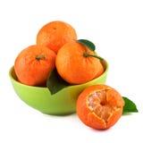 Les mandarines portent des fruits dans la tasse verte sur le fond blanc Fruits organiques avec des feuilles Photos stock