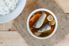 Les maquereaux épicés de nourriture thaïlandaise pêchent, les maquereaux en boîte de Tom yum en sauce tomate sur le tapotement de photo libre de droits