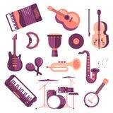 Les maracas réglés de tambour de basque d'accordéon de saxophone de violon de tambour de djembe de synthétiseur de vecteur de ban Image libre de droits