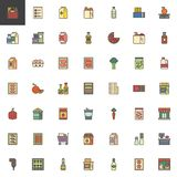 Les marchandises d'épicerie ont rempli ensemble d'icônes d'ensemble illustration stock