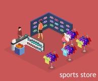Les marchandises 3D intérieures plates isométriques pour les sports font des emplettes Photographie stock