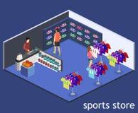 Les marchandises 3D plates isométriques pour les sports font des emplettes Image stock
