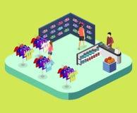 Les marchandises 3D plates isométriques pour les sports font des emplettes Photos stock
