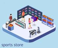 Les marchandises 3D plates isométriques pour les sports font des emplettes Images stock